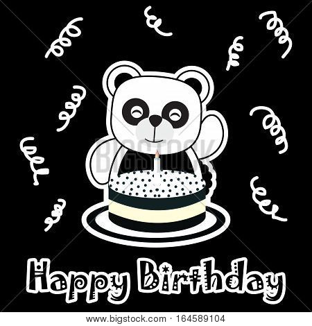 Birthday illustration with cute baby panda with birthday cake suitable for birthday invitation card, postcard, and greeting card