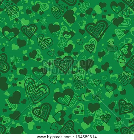Seamless bright green pattern with ormanent with hearts. Valentine seamless pattern,perfect for wrapping.