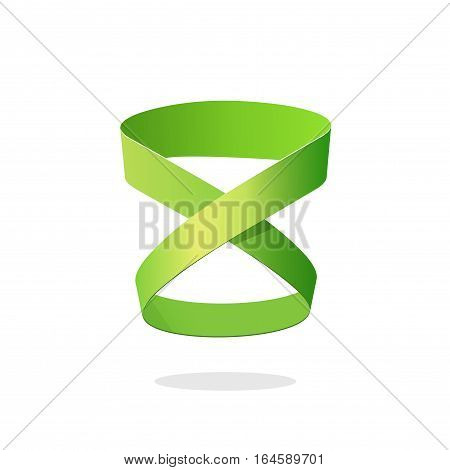 Loop ribbon logo element design isolated on white background, abstract green looped strip, idea of infinity, eternity or endless symbol, creative geometric symbol