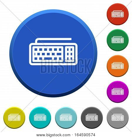 Computer keyboard round color beveled buttons with smooth surfaces and flat white icons