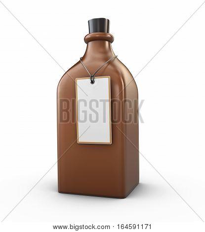 3D Illustration Of Mockup Brown Glass Bottle, Changeable Color Of Bottle, Isolated Black