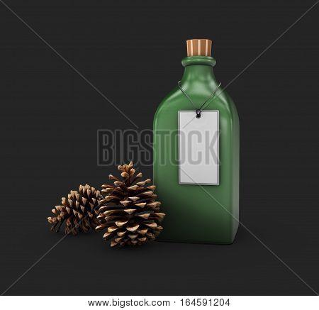 3D Illustration Of Mockup Green Glass Bottle, Changeable Color Of Bottle, Isolated Black