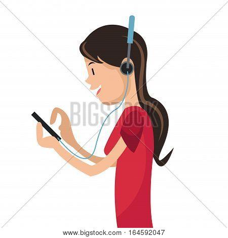 girl using smartphone headphones media vector illustration eps 10