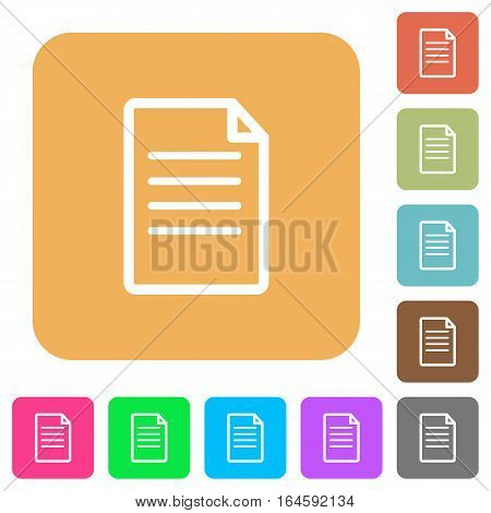 Document flat icons on rounded square vivid color backgrounds.