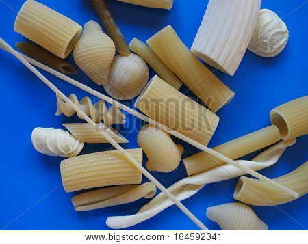Traditional Italian Pasta, Blue Background