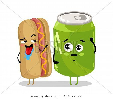 Cute hot dog and soda can cartoon character isolated on white background vector illustration. Funny sandwich and drink cola can emoticon face icon. Happy smile cartoon face fast food, comical hot dog