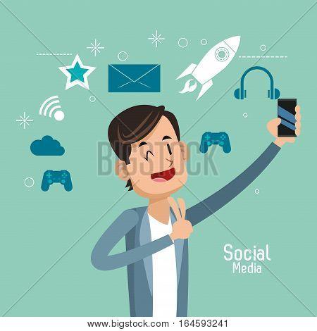 man up hand cellphone social media vector illustration eps 10