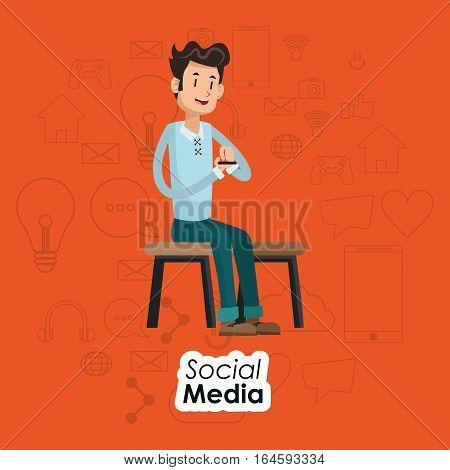 man sitting on chair social media orange background vector illustration eps 10