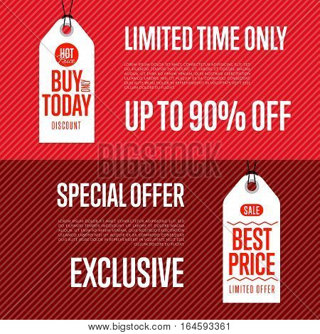 Special offer discount banner set vector illustration. Buy only today sticker, limited time only tag, advertisement retail label, best price ad, special offer shopping symbol. Modern style sale sign