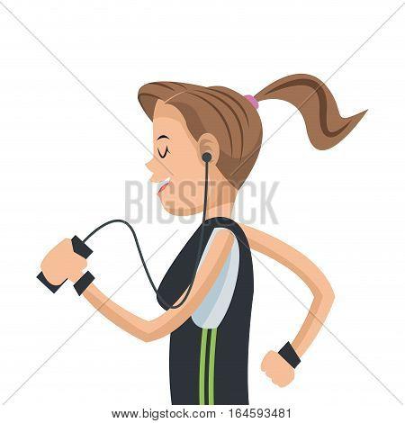 girl sport running mobile headphone social media vector illustration eps 10