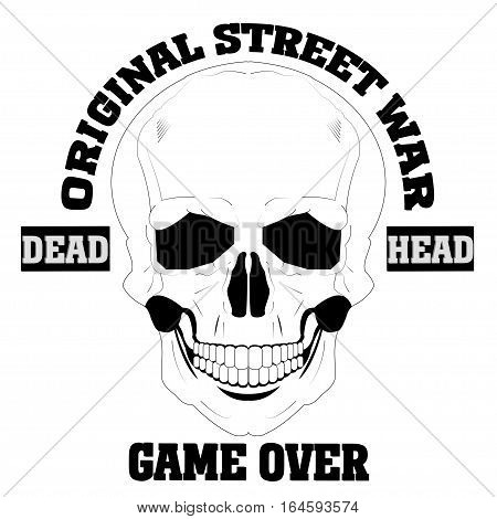Skulls vector. Grunge skulls. Dead head. Game over t-shirt