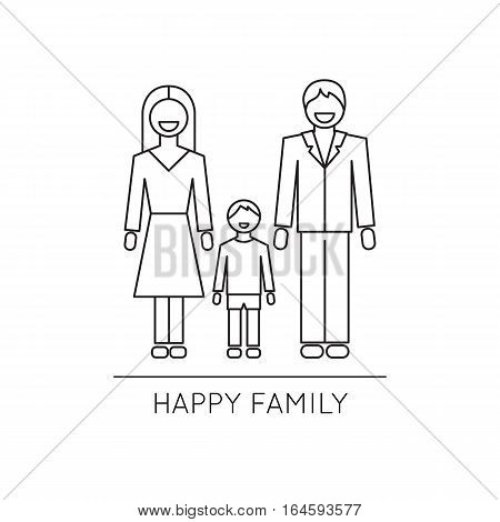 Vector thin line icon, happy family, husband, wife and child. Metaphor of happiness and humor in family relations. Black on white isolated symbol. Simple mono linear modern design.