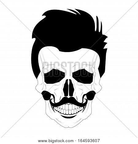 Skulls vector. Grunge skulls. human skull. mustache hair