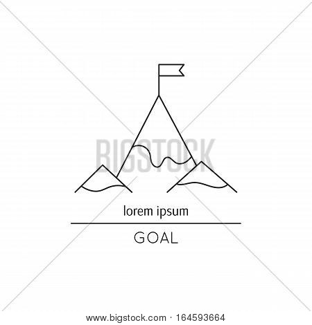 Vector thin line icon, flag on the mountain top. Metaphor of achieving goals and career. Black on white isolated symbol. Career growth, achievement and aspiration. Simple mono linear modern design.