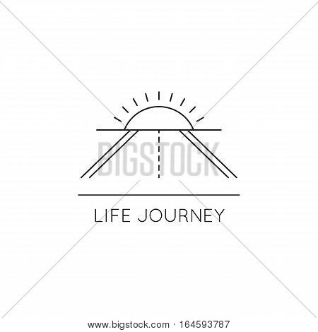 Vector thin line icon, road and sun above the horizon. Metaphor of achieving goals and life journey. Black on white isolated symbol. Simple mono linear modern design.