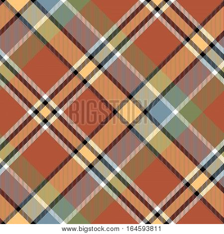 Brawn beige yellow check plaid seamless fabric texture. Vector illustration.