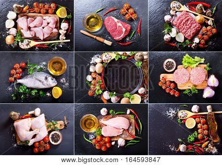 Collage Of Fresh Products For Cooking