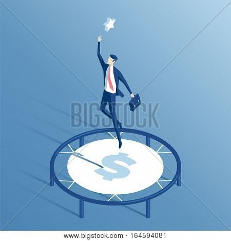 businessman using a trampoline trying to reach for the stars isometric illustration employee with cash trampoline wants to achieve his goal business concept money and goal