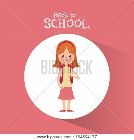 back to school student girl diadem pink skirt backpack vector illustration eps 10