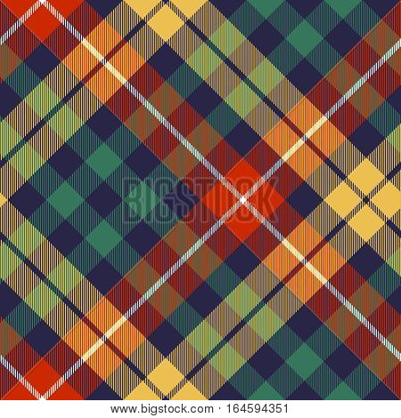 Colored check diagonal seamless fabric texture. Vector illustration.