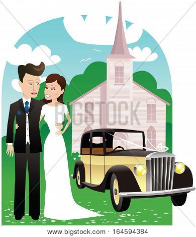 An illustration of a newly married couple posing outside the church.