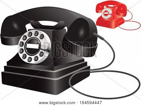 Two illustrations of an old fashioned rotary style telephone - one black, one red.