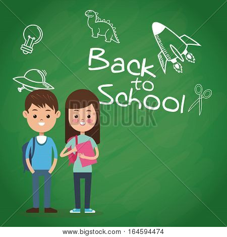 back to school puplis board chalk drawing vector illustration eps 10