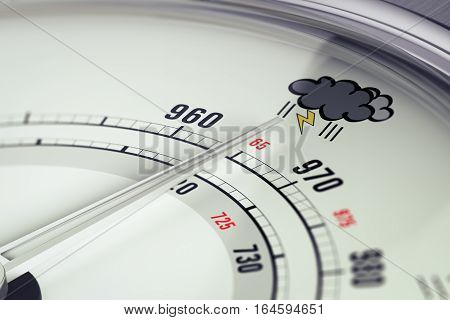 3D illustration of a barometer with needdle pointing a storm pictogram horizontal image