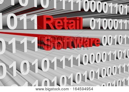 Retail software in binary code, 3D illustration