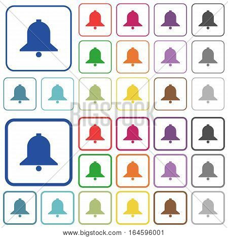Bell color flat icons in rounded square frames. Thin and thick versions included.