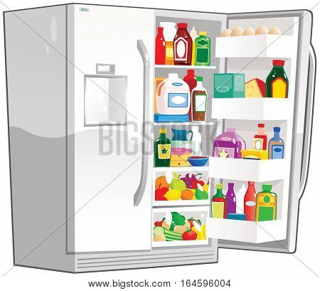 An illustration of a large fridge freezer, with one door open.