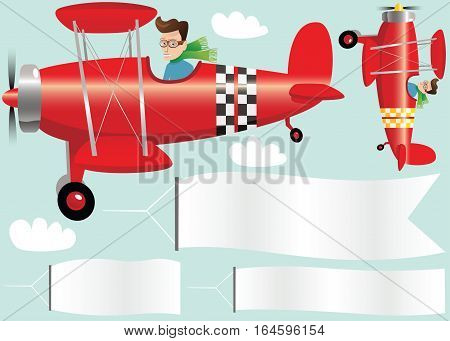 An illustration of an old fashioned biplane and blank banners.