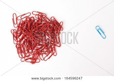 Metaphor Of One Against Many Made Of Colorful Paperclips
