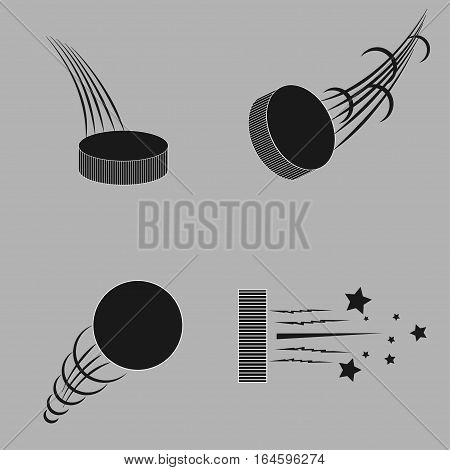 Ice hockey pucks set with trails for sports design - vector