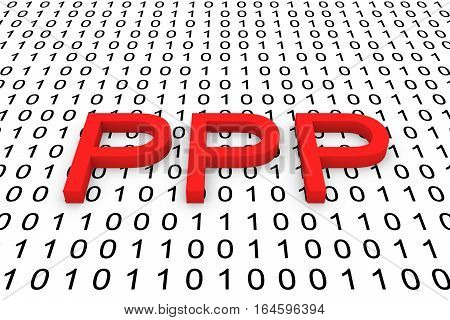 PPP in the form of binary code, 3D illustration