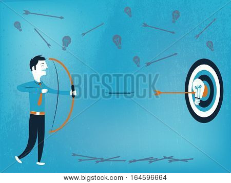 Business man with bow and arrow that hits the target with good idea vector illustration