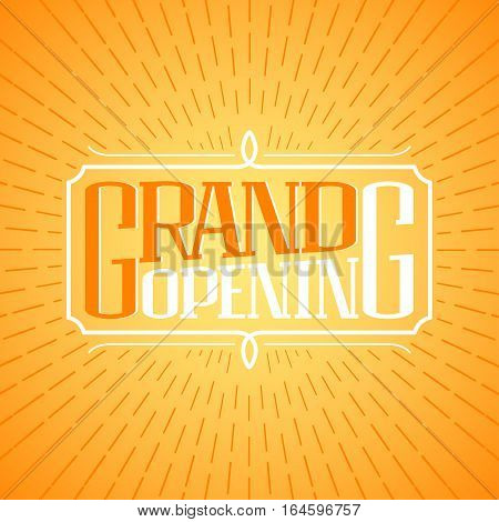Grand opening vector banner illustration poster invitation. Template decoration design element for new store shop club opening ceremony