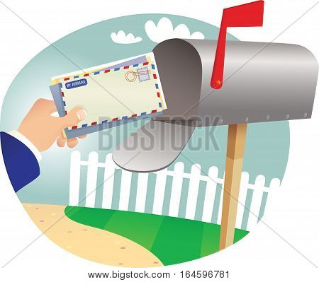 An image of a postman delivering some mail into a letterbox.