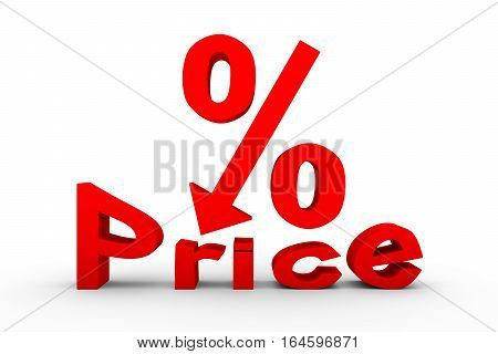 lowering prices as a percentage above the text arrow 3D illustration