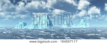 Computer generated 3D illustration with icebergs in the stormy sea