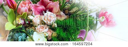 Flower holiday decoration panoramic banner background, beautiful pink roses and peony blooming bouquet