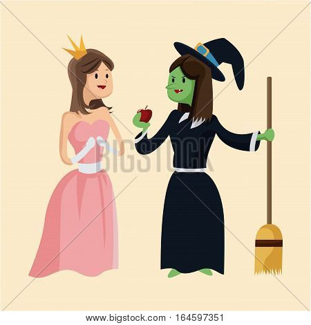 cute princess and ugly witch give apple vector illustration eps 10