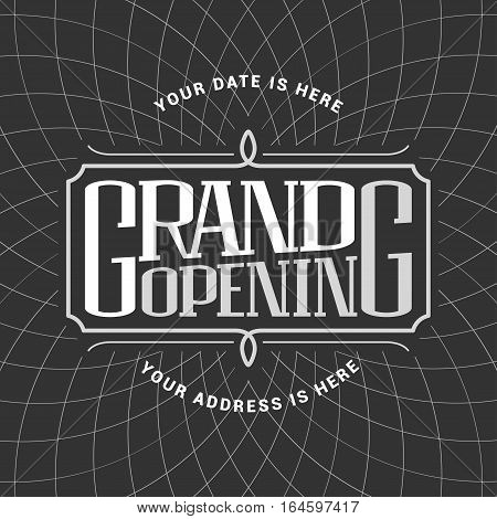 Grand opening vector banner illustration. Nonstandard graphic design element with lettering for opening ceremony