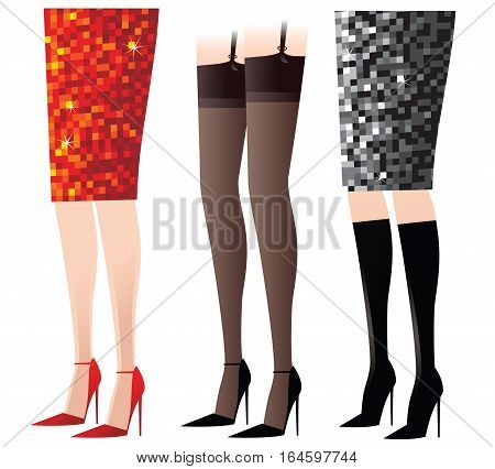 Three illustrations of various female legs - skirts, boots, heels and stockings.