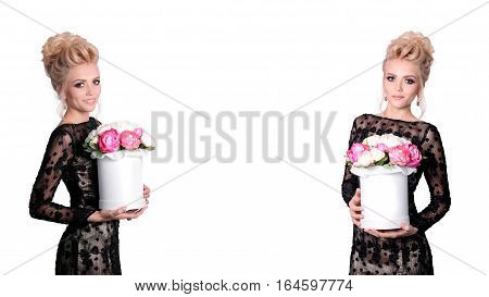 Beautiful blonde woman in elegant black evening dress with updo hairstyle holding a giftbox, bouquet of flowers in her hands. Front and side view. Fashion photo, free space for text