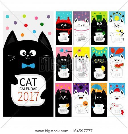 Cat vertical monthly calendar 2017 cover. All month. Cute cartoon character set. Happy Valentines St Patrick day Christmas Easter Egg Bird Chicken Umbrella rain. Santa hat sun symbol Flat design Vector