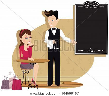 An illustration of a waiter showing a female customer the menu board. Menu board is blank for your own message.