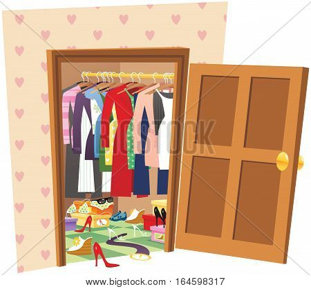 An illustration of a woman's walk in wardrobe.
