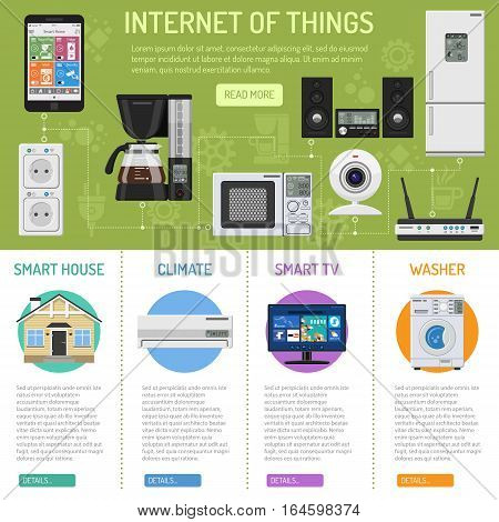 Smart House and internet of things infographics. smartphone controls smart home like smart plug, fridge coffee maker router microwave and music center flat icons. vector illustration