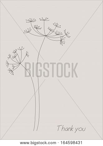 Silhouette of an inflorescence of fennel. Vector elements for design.